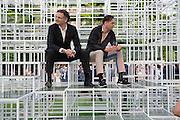 ALI RAHIM; PATRICK SCHUMACHER, The Serpentine Summer Party 2013 hosted by Julia Peyton-Jones and L'Wren Scott.  Pavion designed by Japanese architect Sou Fujimoto. Serpentine Gallery. 26 June 2013. ,
