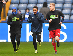 Birmingham City players warm up ahead of the match