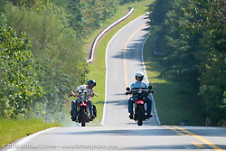 Jeff Lauritsen on his 1934 Harley-Davidson VLD and Vinnie Grasser on his 1930 Harley Davidson VL riding together during Stage 3 of the Motorcycle Cannonball Cross-Country Endurance Run, which on this day ran from Columbus, GA to Chatanooga, TN., USA. Sunday, September 7, 2014.  Photography ©2014 Michael Lichter.