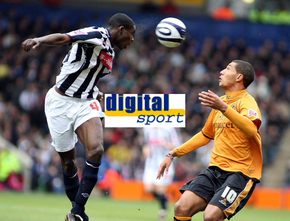 Photo: Mark Stephenson/Sportsbeat Images.<br /> West Bromwich Albion v Wolverhampton Wanderers. Coca Cola Championship. 25/11/2007.West Brom's Leon Bernett wins the ball from Jay Bothroyd