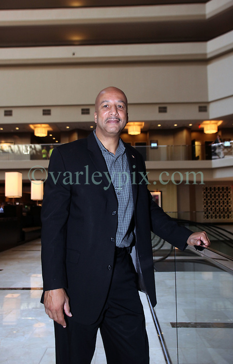 19 Oct 2011. New Orleans, Louisiana.  <br /> Fromer Mayor Ray Nagin attends the official reopening of the Hyatt Regency Hotel following a $275 million redevelopment. The iconic hotel became a symbol of hurricane Katrina when all the glass was blown from her facade. Nagin's administration temporarily took over the hotel as their headquarters in the immediate aftermath of the storm. Over 6 years later the all new, ultra modern 1,193 room hotel and conference center adjacent the Mercedes Benz Superdome is once again open for business.<br /> Photo; Charlie Varley/varleypix.com