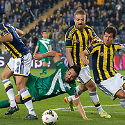 Fenerbahce's Bekir Irtegun (L), Caner Erkin (2ndR), Emre Belozoglu (R) and Bursaspor's Volkan Sen (C) during their Turkish superleague soccer match Fenerbahce between Bursaspor at the Sukru Saracaoglu stadium in Istanbul Turkey on Monday 20 April 2015. Photo by Kurtulus YILMAZ/TURKPIX
