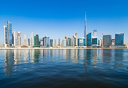 Daytime view of modern skyline of Business Bay in Dubai, United Arab Emirates