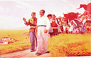 Chinese propaganda poster showing Mao Tse-Tung (Mao Zedong), Chinese Communist leader, with peasants during the Cultural Revolution of 1966.
