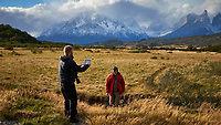 Photographers at Work. Sky, Clouds, and Mountains in Torres del Paine National Park. Image taken with a Fuji X-T1 camera and Zeiss 32 mm f/1.8 lens.