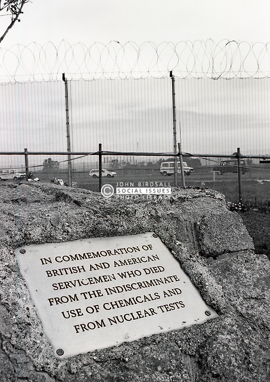 Protest plaque at Molesworth airbase September 1986 UK