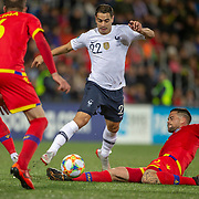 ANDORRA LA VELLA, ANDORRA. June 1. Wissam Ben Yedder #22 of France avoids the challenge of Marc Vales #3 of Andorra during the Andorra V France 2020 European Championship Qualifying, Group H match at the Estadi Nacional d'Andorra on June 11th 2019 in Andorra (Photo by Tim Clayton/Corbis via Getty Images)