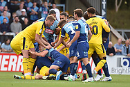 The Wycombe Wanderers players and the The Oxford United players fight during the EFL Sky Bet League 1 match between Wycombe Wanderers and Oxford United at Adams Park, High Wycombe, England on 15 September 2018.