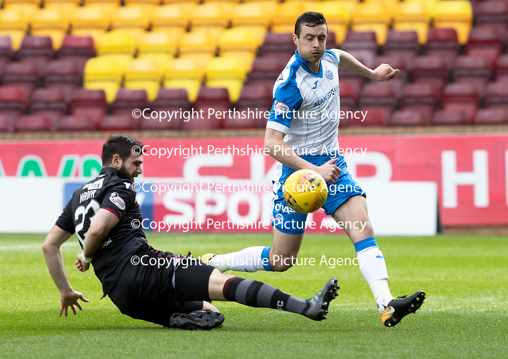 Motherwell v St Johnstone…05.05.18…  Fir Park    SPFL<br />Nadir Ciftci lunges in on Joe Shaughnessy<br />Picture by Graeme Hart. <br />Copyright Perthshire Picture Agency<br />Tel: 01738 623350  Mobile: 07990 594431