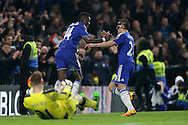Bertrand Traore of Chelsea (l) celebrates  after scoring his sides 5th goal  with Cesar Azpilicueta of Chelsea. Barclays Premier league match, Chelsea v Newcastle Utd at Stamford Bridge in London on Saturday 13th February 2016.<br /> pic by John Patrick Fletcher, Andrew Orchard sports photography.