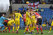 Sunderland defender Jimmy Dunne (30) scores a goal 0-1 with a header during the EFL Sky Bet League 1 match between Oxford United and Sunderland at the Kassam Stadium, Oxford, England on 9 February 2019.