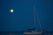 Camden, ME - 10 August 2014. The Supermoon over Camden.