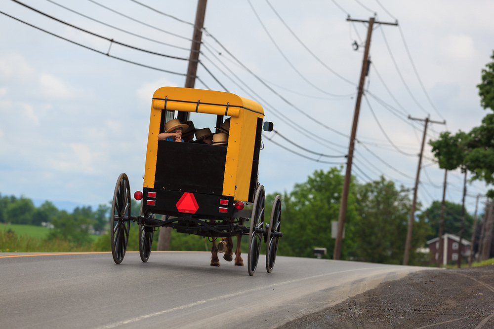 """Bellville, PA, USA - May 23, 2012: A """"yellow-topper"""" Amish buggy used by a member of the Byler Amish in Kishacoquillas Valley."""