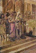"""SOLOMON AND THE QUEEN OF SHEBA. I Kings x 1. """"And when the queen of Sheba heard of the fame of Solomon concerning the name of the Lord, she came to prove him with hard questions From the book ' The Old Testament : three hundred and ninety-six compositions illustrating the Old Testament ' Part II by J. James Tissot Published by M. de Brunoff in Paris, London and New York in 1904"""