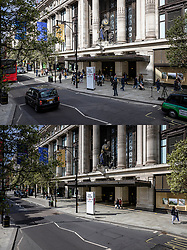 © Licensed to London News Pictures. 12/04/2021. London, UK. Paired images showing shoppers outside Selfridges on Oxford Street on Monday 12 April 2021 (TOP) after shops reopened, and the same location the day before, Sunday 11 April 2021 (BOTTOM), when shops were closed. Pubs, restaurants and non-essential shops reopened on Monday 12 April 2021 as England begins the second phase of 'unlocking' after months of lockdown. Photo credit: Rob Pinney/LNP