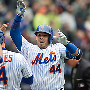 NEW YORK, NEW YORK - MAY 04:  Rene Rivera #44 of the New York Mets celebrates his home run at home plates with Wilmer Flores #4 of the New York Mets during the Atlanta Braves Vs New York Mets MLB regular season game at Citi Field on May 04, 2016 in New York City. (Photo by Tim Clayton/Corbis via Getty Images)