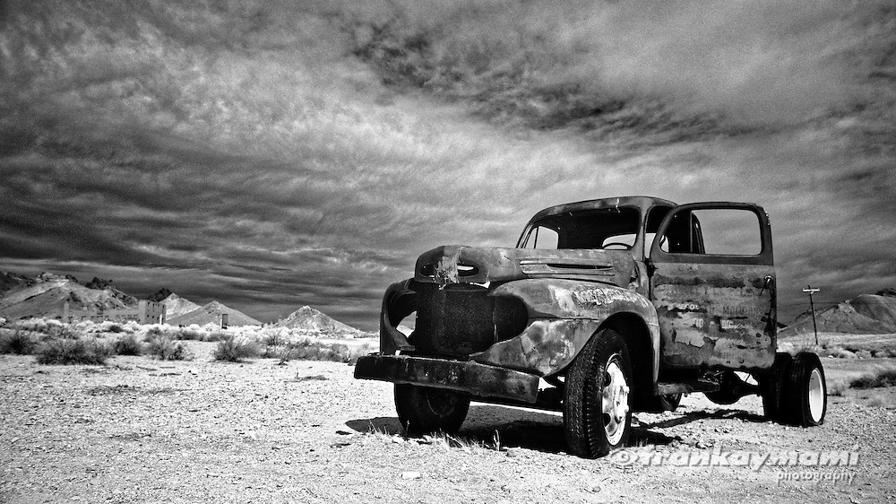Monochrome infrared images of Rhyolite Ghost Town in Rhyolite, NV on October 14, 2016.