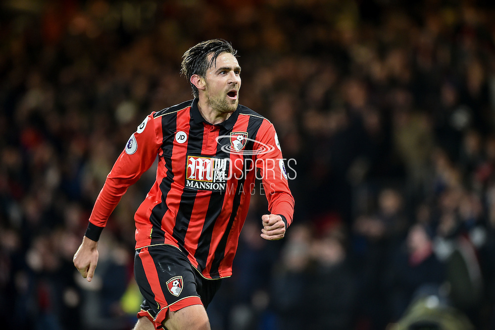 AFC Bournemouth Defender, Charlie Daniels (11) scores a goal to make it 1-0 during the Premier League match between Bournemouth and Arsenal at the Vitality Stadium, Bournemouth, England on 3 January 2017. Photo by Adam Rivers.