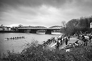 London. United Kingdom,  Competitors boating for the 2018 Women's Head of the River Race.  Location Barnes Bridge, Championship Course, Putney to Mortlake. River Thames, <br /> <br /> Saturday   10/03/2018<br /> <br /> [Mandatory Credit:Peter SPURRIER Intersport Images]<br /> <br /> Leica Camera AG  M9 Digital Camera  1/90 sec. 50 mm f. 160 ISO.  17.5MB