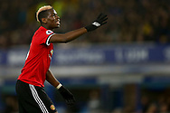Paul Pogba of Manchester United looks on. Premier league match, Everton v Manchester Utd at Goodison Park in Liverpool, Merseyside on New Years Day, Monday 1st January 2018.<br /> pic by Chris Stading, Andrew Orchard sports photography.