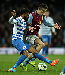 Aston Villa's Jack Grealish takes on Queens Park Rangers's Armand Traore - Photo mandatory by-line: Robbie Stephenson/JMP - Mobile: 07966 386802 - 07/04/2015 - SPORT - Football - Birmingham - Villa Park - Aston Villa v Queens Park Rangers - Barclays Premier League