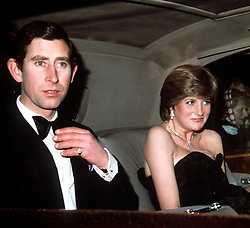 PRINCE CHARLES AND HIS FIANCEE, LADY DIANA SPENCER, ARRIVING AT THE GOLDSMITH'S HALL IN LONDON FOR THEIR FIRST ROYAL ENGAGEMENT TOGETHER.