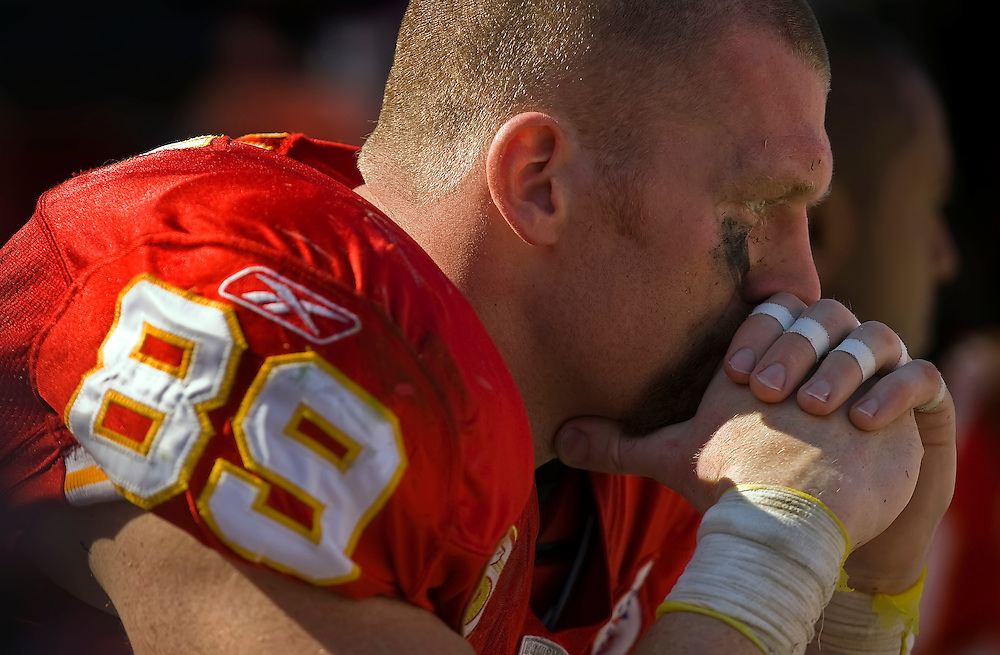 Kansas City Chiefs tight end Sean Ryan sat on the Chiefs bench in the final three minutes of the 27-16 loss to the New York Giants on October 3, 2009 at Arrowhead Stadium in Kansas City, Mo. Ryan scored one touchdown and was the team's leading receiver with 5 catches for 58 yards.