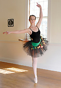 CATAUMET -- 041912 --Rising Star Ceara Tavares, 17, demonstrates an attitude ballet pose at Cape Cod Dance Center where she works as a dance instructor. This season she will also dance the lead role of Swanhilde and CoppŽlia. Cape Cod Times/Christine Hochkeppel 041912ch03