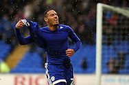 Cardiff City's Kenneth Zohore celebrates after he scores Cardiff's second goal. EFL Skybet championship match, Cardiff city v Fulham at the Cardiff city stadium in Cardiff, South Wales on Saturday 25th February 2017.<br /> pic by Carl Robertson, Andrew Orchard sports photography.
