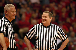 09 January 2010: Referees Tom Eades and Curtis Shaw. The Panthers of Northern Iowa topple the Redbirds of Illinois State 59-44 on Doug Collins Court inside Redbird Arena at Normal Illinois.