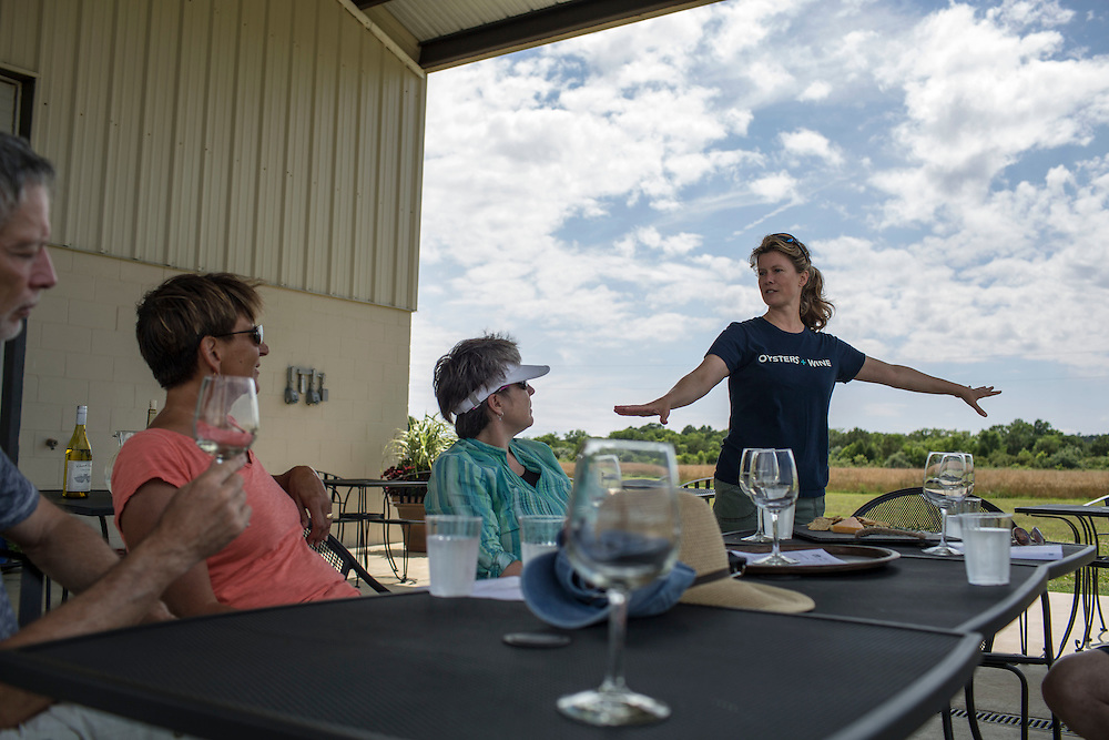 MACHIPONGO, VA - JUNE 22: Mills Wehner, of Machipongo, Va., discusses the history of Chatham Vineyards, owned by her and her husband, a tour group on Sunday, June 22nd, 2014 near Machipongo, Va. (Photo by Jay Westcott/For The Washington Post)