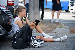 Hannah Nilsson waits for the start time at La Course High Speed Pursuit 2017 - a 22.5 km pursuit road race on July 22, 2017, in Marseille, France. (Photo by Sean Robinson/Velofocus.com)