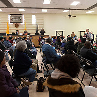 Attorney Kate Ferlic, right, speaks to a full room Thursday morning at the Shiprock Chapter House during a meeting for individuals affected by the Gold King Mine spill in 2015. The law firm of Egolf, Ferlic, Martinez and Harwood LLC visited the chapter house Thursday morning to answer questions and help individuals fill out a questionnaire before visiting Hogback Thursday afternoon and Nenahnezad and San Juan Chapters Friday.
