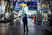 The empty Frankfurt am Main railyway station during the morning rush hour on a Wednesday after the corona virus outbreak changed our public lifes.