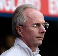 Photo: Richard Lane.<br />England 'B' v Belarus. International Friendly. 25/05/2006.<br />England's manager Sven Goran Eriksson watches on from the bench.