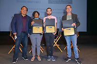 George Huang, Mrittika Sarin, Aidan West and Todd Goodlett at UCLA TFT Sloan Film Grant Colloquium held at James Bridges Theater/UCLA on November 03, 2019 in Los Angeles, California, United States (Photo by © Jc Olivera/VipEventPhotography.com)