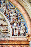 Detail of relief sculptures of the North Portal of the Romanesque Baptistery of Parma, circa 1196, (Battistero di Parma), Italy .<br /> <br /> If you prefer you can also buy from our ALAMY PHOTO LIBRARY  Collection visit : https://www.alamy.com/portfolio/paul-williams-funkystock/romanesque-art-antiquities.html<br /> Type -     Parma    - into the LOWER SEARCH WITHIN GALLERY box. <br /> <br /> Visit our ROMANESQUE ART PHOTO COLLECTION for more   photos  to download or buy as prints https://funkystock.photoshelter.com/gallery-collection/Medieval-Romanesque-Art-Antiquities-Historic-Sites-Pictures-Images-of/C0000uYGQT94tY_Y