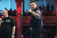 Gary Anderson wins the match against Jefferey de Zwaan during the BetVictor World Matchplay Darts 2018 semi final at Winter Gardens, Blackpool, United Kingdom on 28 July 2018. Picture by Shane Healey.