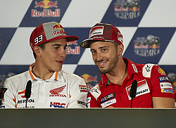 May 3, 2018 - Jerez De La Frontera, Cadiz, Spain - 93 Marc Marquez (Spanish) Repsol Honda Team and #4 Andrea Dovizioso (Italian) Ducati Team in the press conference before of the Gran Premio Red Bull of Spain, Circuit of Jerez - Angel Nieto, Jerez de la Frontera, Spain. Thursday, 03rd May, 2018. (Credit Image: © Jose Breton/NurPhoto via ZUMA Press)