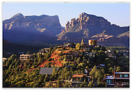 A typical neighborhood in beautiful Sedona Arizona in the very early morning, USA