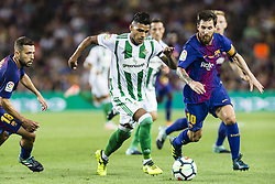 August 20, 2017 - Barcelona, Catalonia, Spain - Nahuel Leiva of Real Betis and Lionel Messi of FC Barcelona during the match between FC Barcelona vs Real Betis Balompie, for the round 1 of the Liga Santander, played at Camp Nou Stadium on 20th August 2017 in Barcelona, Spain. (Credit Image: © Urbanandsport/NurPhoto via ZUMA Press)