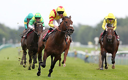 Harry Angel ridden by Alan Kirby wins the Armstrong Aggregates Sandy Lane Stakes, at Haydock Park Racecourse. PRESS ASSOCIATION Photo. Picture date Saturday May 27, 2017. See PA story RACING Haydock. Photo credit should read: Martin Rickett/PA Wire.