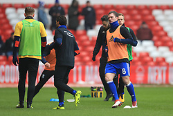 Birmingham City players warm up prior to the match with Nottingham Forest