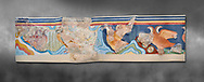 The Minoan 'Partridge Fresco', wall art from the  'Guset House' Knossos Palace, 1600-140 BC. Heraklion Archaeological Museum.  Grey Background. <br /> <br /> This Minoan fresco was painted in vivid colours using fine brush strokes and colour gradients. It portrays partridges , commonly found in Crete, among rocks and thopical Cretian flora. It decorated the pavillion in the so called 'Guset House' or 'Caravanserai. .<br /> <br /> If you prefer to buy from our ALAMY PHOTO LIBRARY  Collection visit : https://www.alamy.com/portfolio/paul-williams-funkystock/minoan-art-artefacts.html . Type -   Heraklion   - into the LOWER SEARCH WITHIN GALLERY box. Refine search by adding background colour, place, museum etc<br /> <br /> Visit our MINOAN ART PHOTO COLLECTIONS for more photos to download  as wall art prints https://funkystock.photoshelter.com/gallery-collection/Ancient-Minoans-Art-Artefacts-Antiquities-Historic-Places-Pictures-Images-of/C0000ricT2SU_M9w