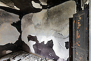walls in burned out upper room of a house