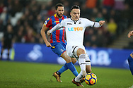 Roque Mesa of Swansea city in action.Premier league match, Swansea city v Crystal Palace at the Liberty Stadium in Swansea, South Wales on Saturday 23rd December 2017.<br /> pic by  Andrew Orchard, Andrew Orchard sports photography.