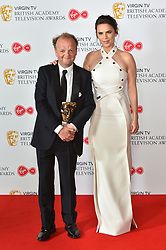 Toby Jones, with his BAFTA for best male comedy performance, and Hayley Atwell at the Virgin TV British Academy Television Awards 2018 held at the Royal Festival Hall, Southbank Centre, London.