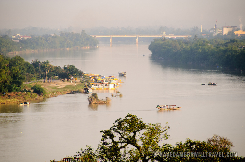Boats on the Perfume River in Hue, Vietnam.