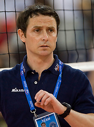 Tilen Kozamernik of ACH before the 2nd Semifinal match of CEV Indesit Champions League FINAL FOUR tournament between ACH Volley, Bled, SLO and Trentino BetClic Volley, ITA, on May 1, 2010, at Arena Atlas, Lodz, Poland. Trentino defeated ACH 3-1. (Photo by Vid Ponikvar / Sportida)