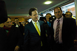 © London News Pictures. 01/03/2013 . West End, UK.  Leader of the Liberal Democrats part NICK CLEGG leaving a media conference at the Ageas Bowl cricket ground in West End, Hampshire after MIKE THORNTON won the Eastleigh By-Election in the early hours of this morning. The seat became vacant when Chris Huhne resigned from the position following his guilty plea to a charge of perverting the course of justice. Photo credit : Ben Cawthra/LNP